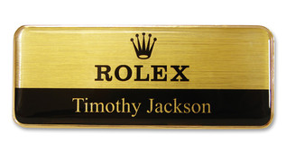Prestige Premium name badges - Gold border and brushed gold / black background | www.namebadgesinternational.co.uk